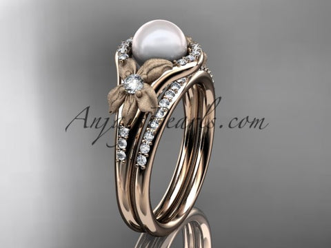 14k rose gold diamond pearl vine and leaf engagement set AP91S - AnjaysDesigns