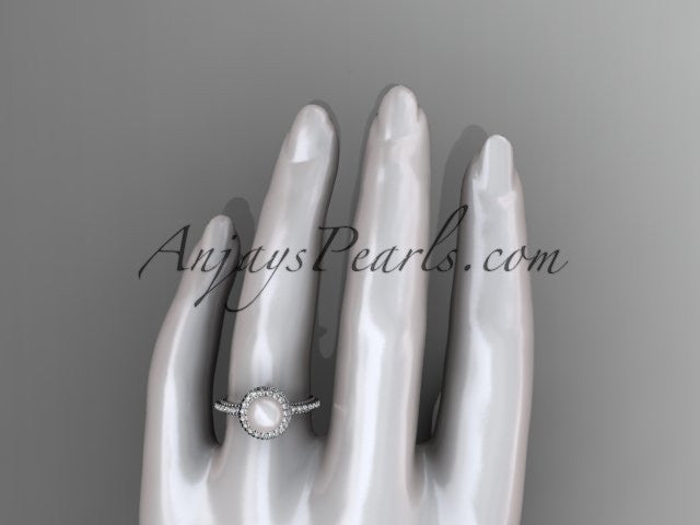 14k white gold diamond pearl vine and leaf engagement ring AP95 - AnjaysDesigns