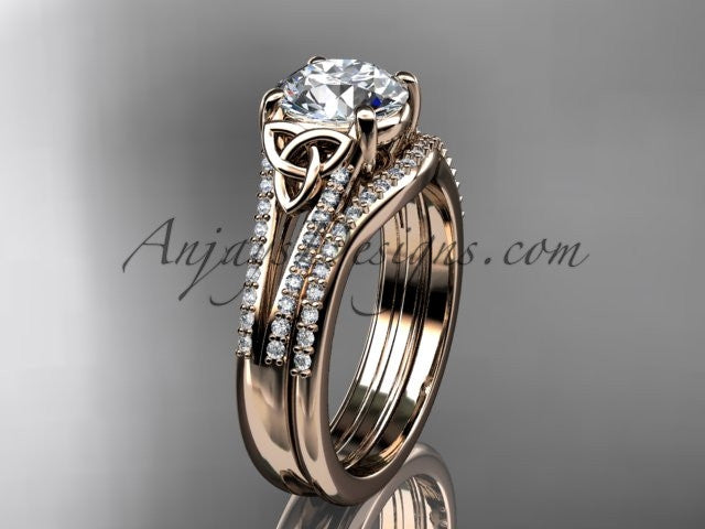 "14kt rose gold celtic trinity knot engagement ring ,diamond wedding ring, engagment set with a ""Forever One"" Moissanite center stone CT7108S - AnjaysDesigns"
