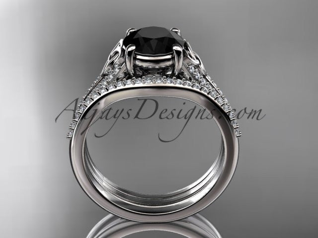 platinum celtic trinity knot engagement ring ,diamond wedding ring, engagment set with a Black Diamond center stone CT7108S - AnjaysDesigns