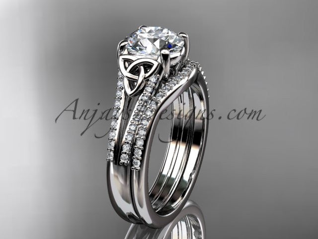 "14kt white gold celtic trinity knot engagement ring ,diamond wedding ring, engagment set with a ""Forever One"" Moissanite center stone CT7108S - AnjaysDesigns"