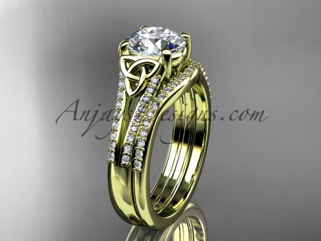 "14kt yellow gold celtic trinity knot engagement ring ,diamond wedding ring, engagment set with a ""Forever One"" Moissanite center stone CT7108S - AnjaysDesigns"