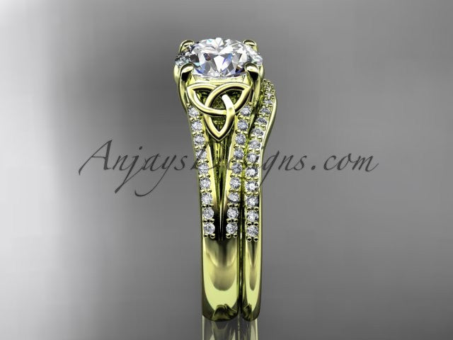 14kt yellow gold celtic trinity knot engagement ring ,diamond wedding ring, engagment set CT7108S - AnjaysDesigns