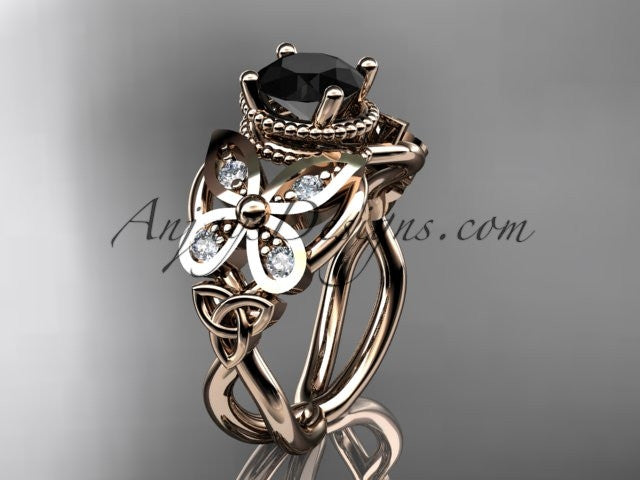 14kt rose gold diamond celtic trinity knot wedding ringbutterfly engagement ring with a black diamond center stone ct7136 - Butterfly Wedding Rings