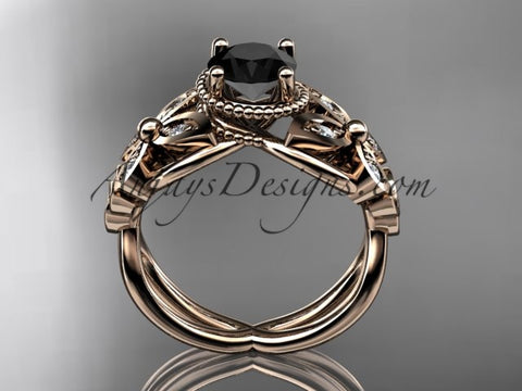 14kt rose gold diamond celtic trinity knot wedding ringbutterfly engagement ring with a black - Butterfly Wedding Rings