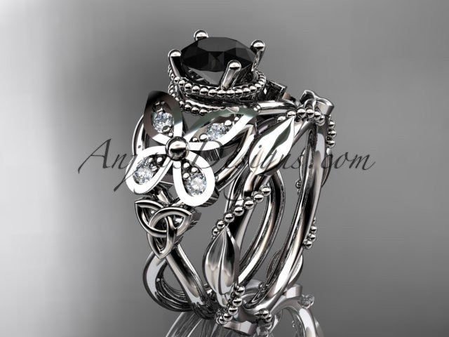 14kt white gold diamond celtic trinity knot wedding ring, butterfly engagement set with a Black Diamond center stone CT7136S - AnjaysDesigns