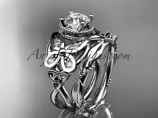"14kt white gold diamond celtic trinity knot wedding ring, butterfly engagement set with a ""Forever One"" Moissanite center stone CT7136S - AnjaysDesigns"