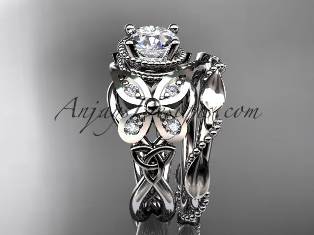 14kt white gold diamond celtic trinity knot wedding ring, butterfly engagement set CT7136S - AnjaysDesigns
