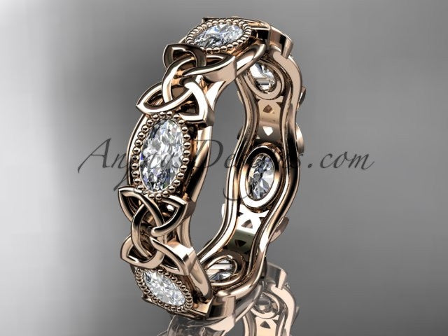 14kt rose gold celtic trinity knot wedding band, engagement ring CT7152B - AnjaysDesigns