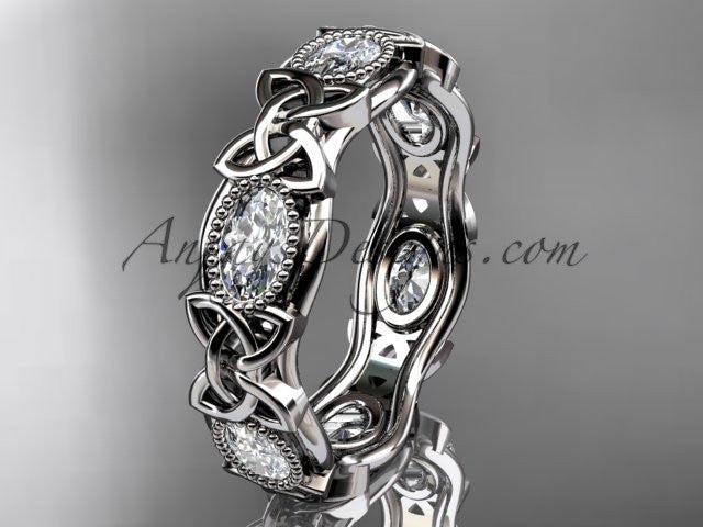 14kt white gold celtic trinity knot wedding band, engagement ring CT7152B - AnjaysDesigns