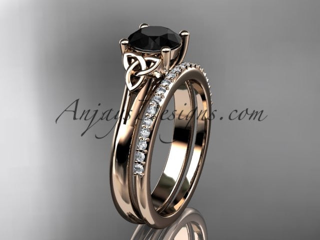 14kt rose gold diamond celtic trinity knot wedding ring, engagement set with a Black Diamond center stone CT7154S - AnjaysDesigns