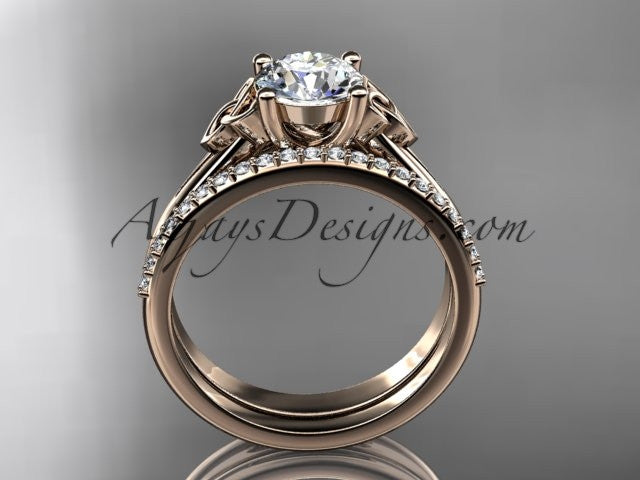 14kt rose gold diamond celtic trinity knot wedding ring, engagement set CT7154S - AnjaysDesigns