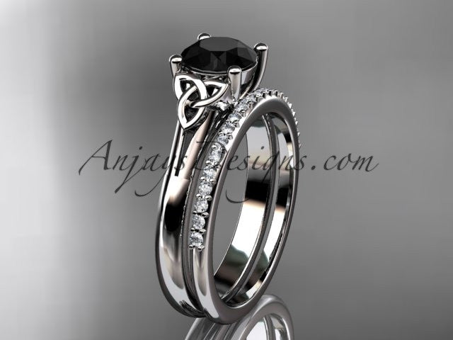 14kt white gold diamond celtic trinity knot wedding ring, engagement set with a Black Diamond center stone CT7154S - AnjaysDesigns