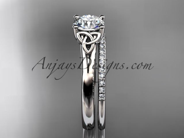14kt white gold diamond celtic trinity knot wedding ring, engagement set CT7154S - AnjaysDesigns