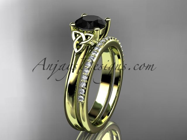 14kt yellow gold diamond celtic trinity knot wedding ring, engagement set with a Black Diamond center stone CT7154S - AnjaysDesigns