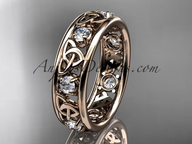 14kt rose gold celtic trinity knot wedding band, engagement ring CT7160B - AnjaysDesigns