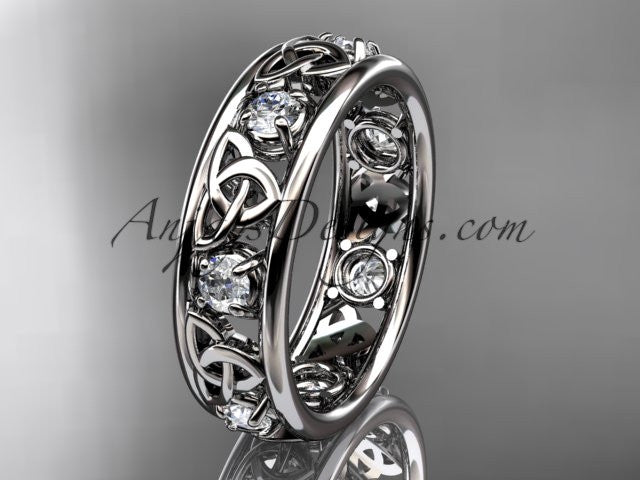 platinum celtic trinity knot wedding band, engagement ring CT7160B - AnjaysDesigns