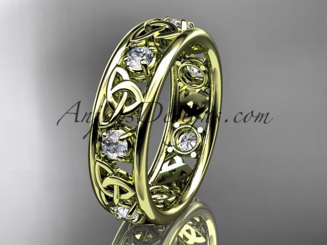 14kt yellow gold celtic trinity knot wedding band, engagement ring CT7160B - AnjaysDesigns