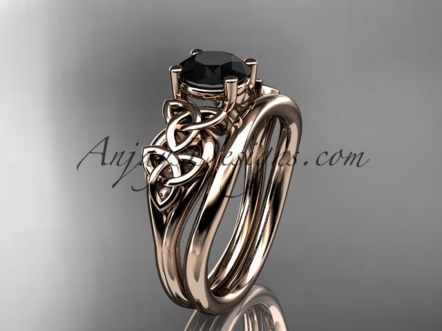 14kt rose gold celtic trinity knot wedding ring, engagement set with a Black Diamond center stone CT7169S - AnjaysDesigns
