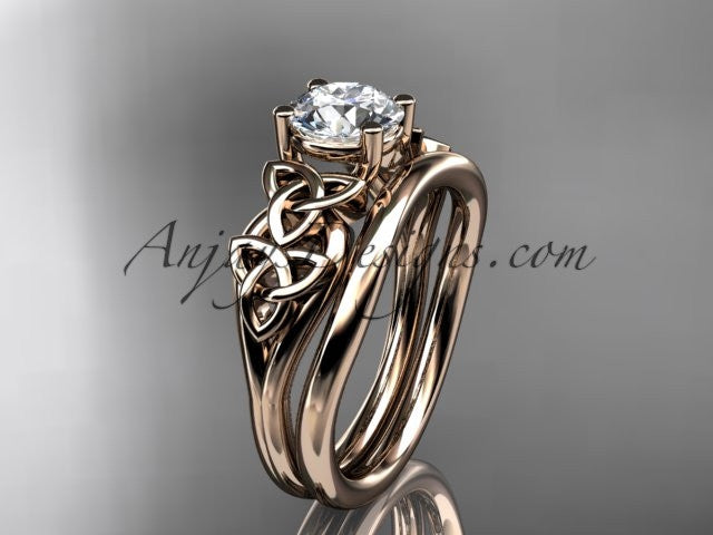 14kt rose gold celtic trinity knot wedding ring, engagement set CT7169S - AnjaysDesigns