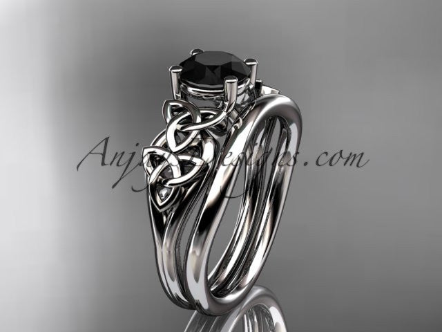platinum celtic trinity knot wedding ring, engagement set with a Black Diamond center stone CT7169S - AnjaysDesigns