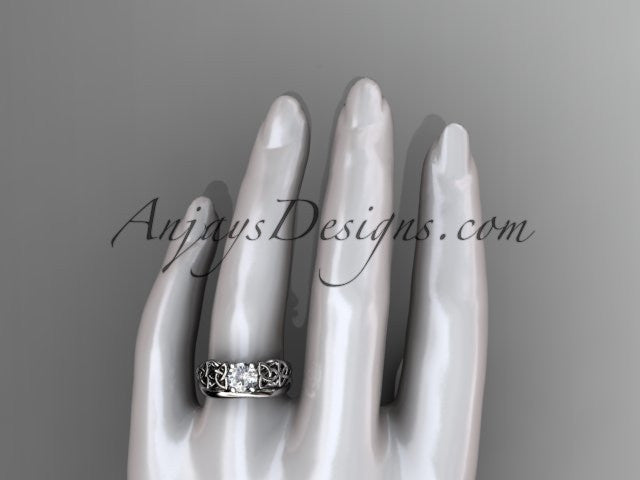14kt white gold celtic trinity knot wedding ring, engagement set CT7169S - AnjaysDesigns