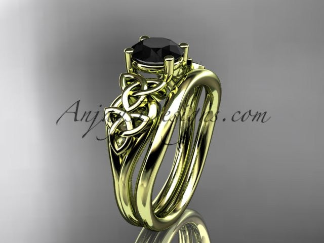 14kt yellow gold celtic trinity knot wedding ring, engagement set with a Black Diamond center stone CT7169S - AnjaysDesigns