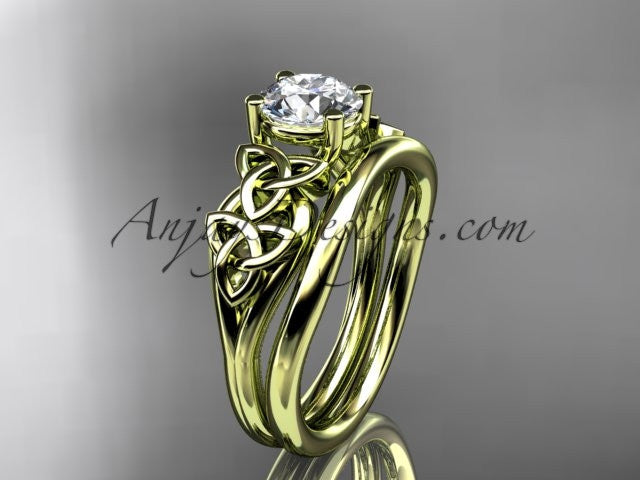 14kt yellow gold celtic trinity knot wedding ring, engagement set CT7169S - AnjaysDesigns