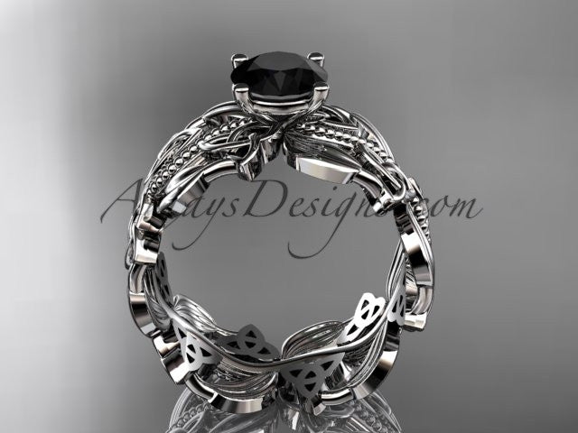 14kt white gold celtic trinity knot wedding ring, engagement ring with a Black Diamond center stone CT7188 - AnjaysDesigns