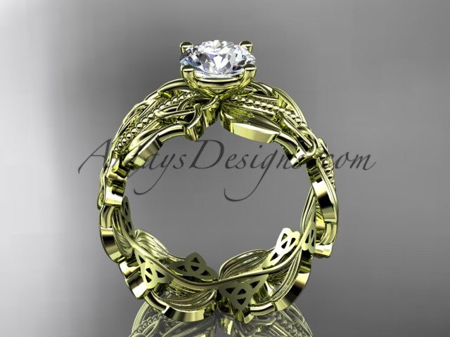 14kt yellow gold celtic trinity knot wedding ring, engagement ring CT7188 - AnjaysDesigns