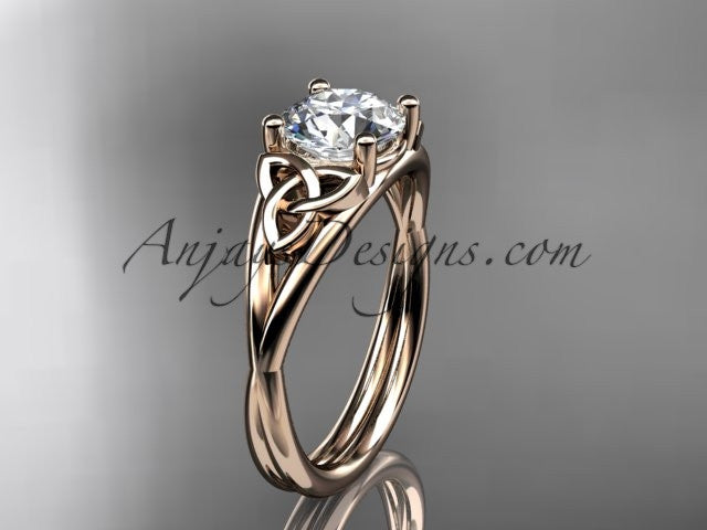 "rose gold celtic trinity knot wedding ring, engagement ring with a ""Forever One"" Moissanite center stone CT7189 AnjaysDesigns"