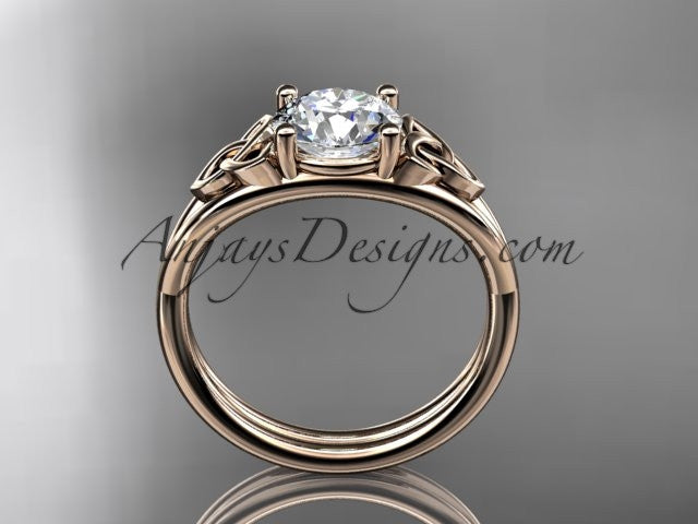 "14kt rose gold celtic trinity knot wedding ring, engagement ring with a ""Forever One"" Moissanite center stone CT7189 - AnjaysDesigns"
