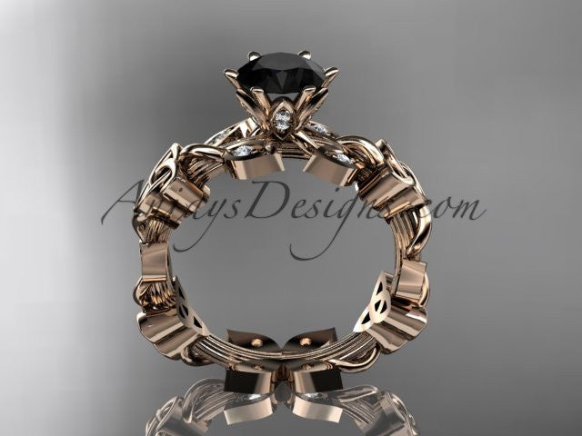 14kt rose gold diamond celtic trinity knot wedding ring, engagement ring with a Black Diamond center stone CT7209 - AnjaysDesigns