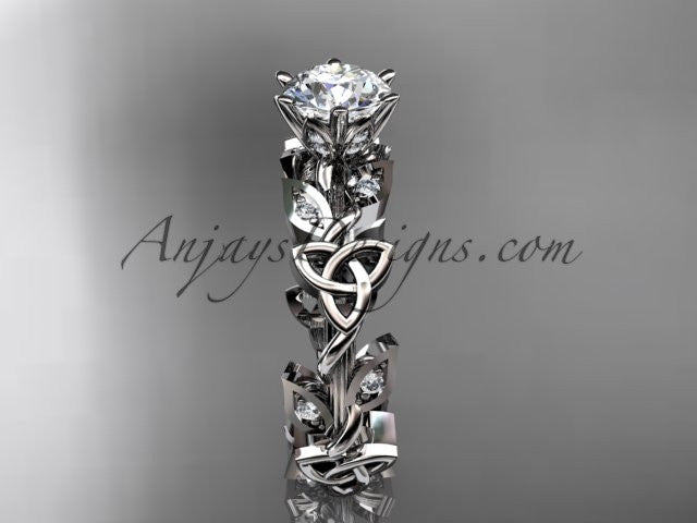 14kt white gold diamond celtic trinity knot wedding ring, engagement ring CT7209 - AnjaysDesigns