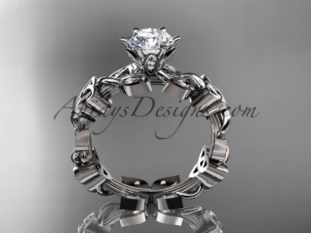 "14kt white gold diamond celtic trinity knot wedding ring, engagement ring with a ""Forever One"" Moissanite center stone CT7209 - AnjaysDesigns"