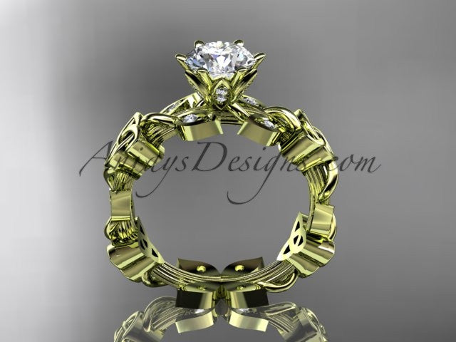 "14kt yellow gold diamond celtic trinity knot wedding ring, engagement ring with a ""Forever One"" Moissanite center stone CT7209 - AnjaysDesigns"