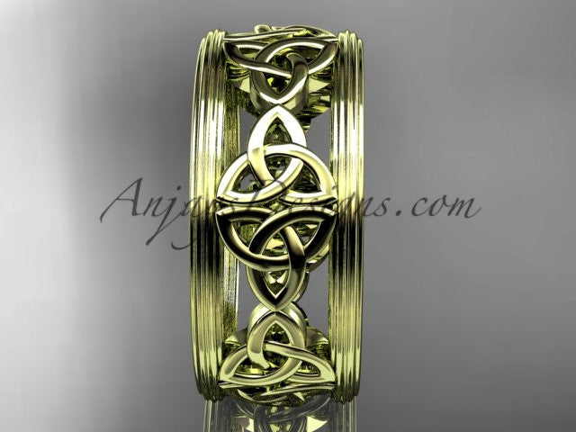 14kt yellow gold celtic trinity knot wedding band, engagement ring CT7236G - AnjaysDesigns