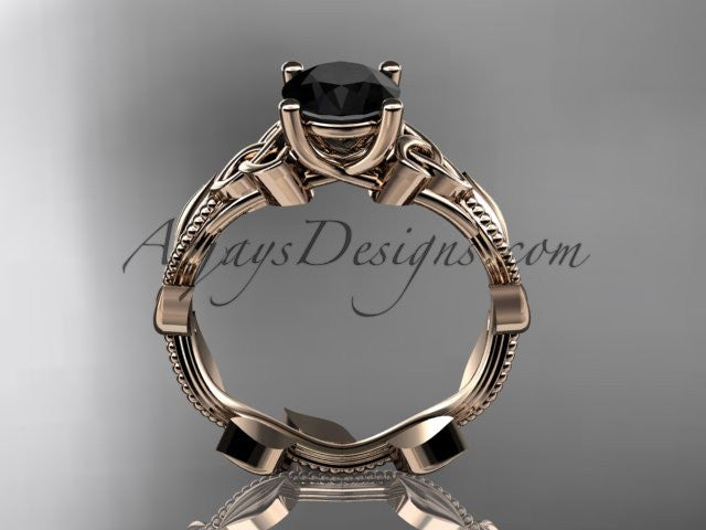 14kt rose gold celtic trinity knot wedding ring, engagement ring with a Black Diamond center stone CT7238 - AnjaysDesigns