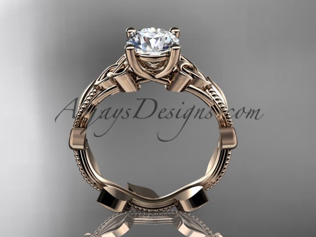 "14kt rose gold celtic trinity knot wedding ring, engagement ring with a ""Forever One"" Moissanite center stone CT7238 - AnjaysDesigns"