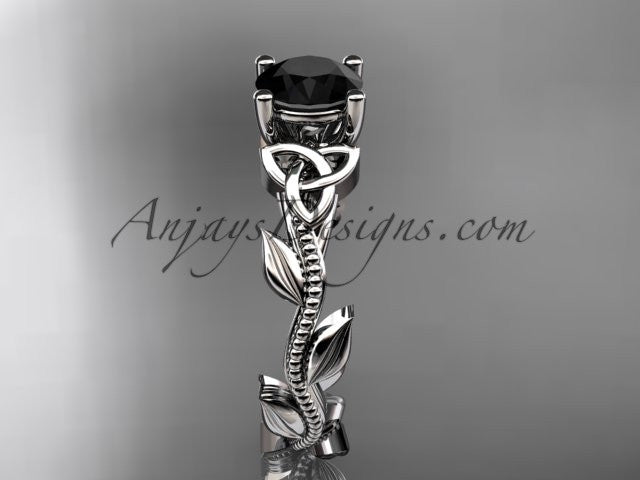 platinum celtic trinity knot wedding ring, engagement ring with a Black Diamond center stone CT7238 - AnjaysDesigns