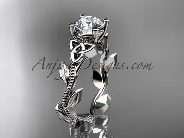 "platinum celtic trinity knot wedding ring, engagement ring with a ""Forever One"" Moissanite center stone CT7238 - AnjaysDesigns"