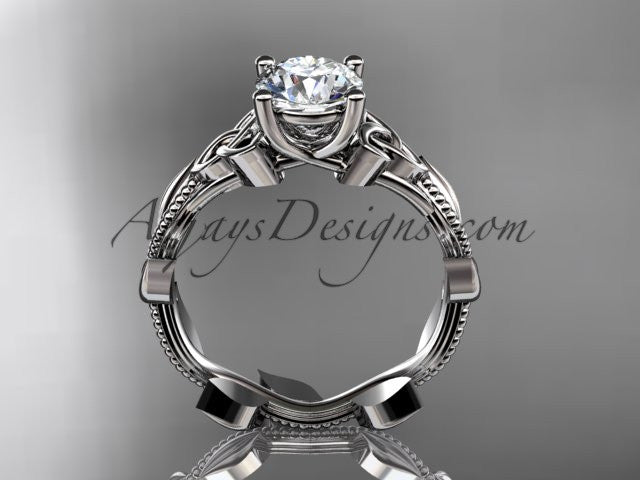 "14kt white gold celtic trinity knot wedding ring, engagement ring with a ""Forever One"" Moissanite center stone CT7238 - AnjaysDesigns"