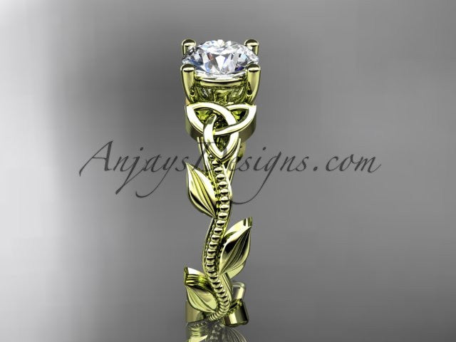 "14kt yellow gold celtic trinity knot wedding ring, engagement ring with a ""Forever One"" Moissanite center stone CT7238 - AnjaysDesigns"