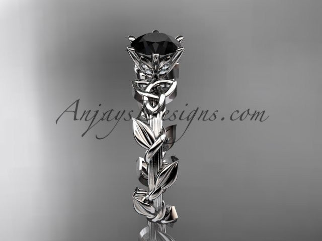 14kt white gold diamond celtic trinity knot wedding ring, engagement ring with a Black Diamond center stone CT7248 - AnjaysDesigns