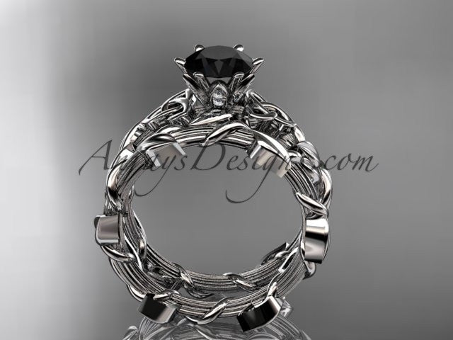 14kt white gold diamond celtic trinity knot wedding ring, engagement ring with a Black Diamond center stone CT7248S - AnjaysDesigns