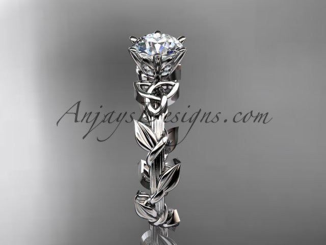 "platinum diamond celtic trinity knot wedding ring, engagement ring with a ""Forever One"" Moissanite center stone CT7248 - AnjaysDesigns"
