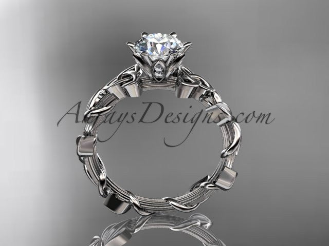 "14kt white gold diamond celtic trinity knot wedding ring, engagement ring with a ""Forever One"" Moissanite center stone CT7248 - AnjaysDesigns"