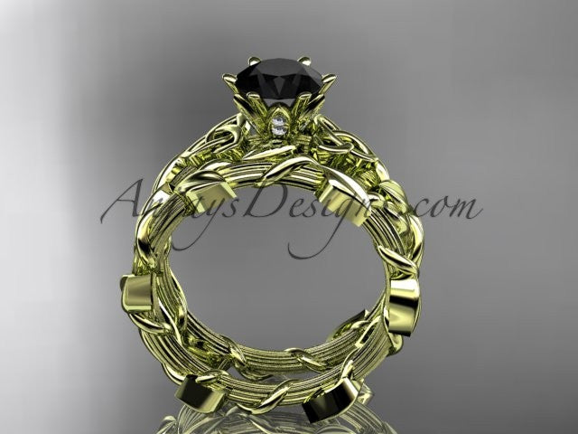 14kt yellow gold diamond celtic trinity knot wedding ring, engagement ring with a Black Diamond center stone CT7248S - AnjaysDesigns