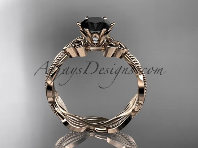 14kt rose gold diamond celtic trinity knot wedding ring, engagement ring with a Black Diamond center stone CT7258 - AnjaysDesigns