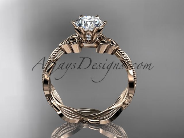 "14kt rose gold diamond celtic trinity knot wedding ring, engagement ring with a ""Forever One"" Moissanite center stone CT7258 - AnjaysDesigns"